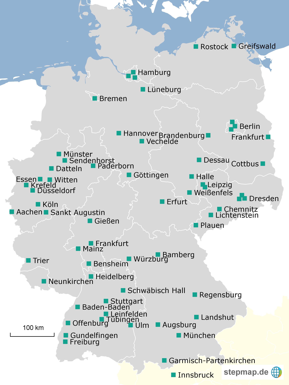 Karte der teilnehmenden Einrichtungen